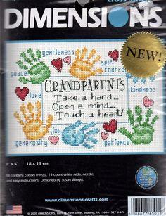 "Diminsions Cross Stitch Kit Grandparents Touch a Heart 7"" x 5"" Susan Winget New #Dimensions #CrossStitchKit"