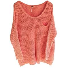 Free People Sweater ($45) ❤ liked on Polyvore featuring tops, sweaters, shirts, blusas, cotton sweaters, red sweater and red top
