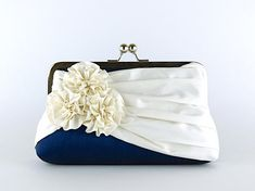 Roses Silk Clutch in Navy and Ivory Wedding clutch by EllenVintage, $78.00