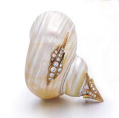 A French Retro Shell & Diamond Brooch by Sterle - Shrubsole