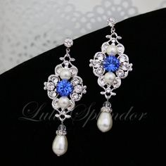 Sapphire Blue Bridal Earrings Ivory pearl Wedding Earrings Swarovski Pearl crystals Vintage style Wedding Jewelry LEILA on Etsy, $55.00