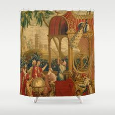 Beijing Observatory Chinoiserie Shower Curtain