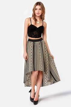 Pretty Tribal Print Skirt - High-Low Skirt - Abstract Print Skirt - $40.00