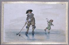 colf A man and a boy playing golf on the ice Adriaen van der Venne--1589 - 1662