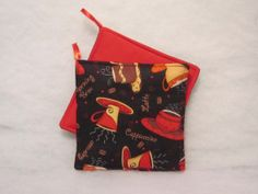 Retro Cafe Late Kitchen Potholders in a set of 2 by sewinggranny, $6.00