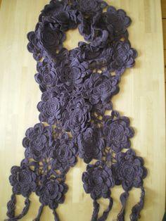 Dubbel sjaal bloemen paars