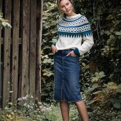 DG392 Dale Gull Vintage-Favoritter | Dale Garn Skagen, Gull, Ravelry, Denim Skirt, Hipster, Retro, Knitting, Casual, Skirts