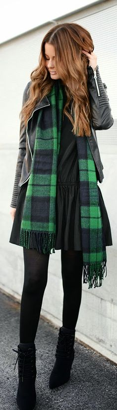 Black and Green Plaid Scarf with Leather Moto | Ch...