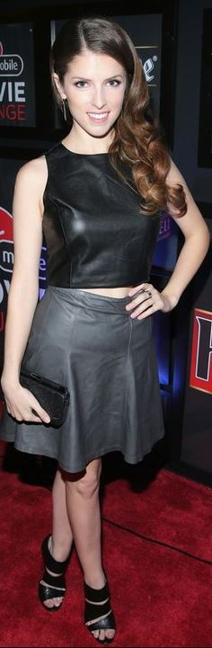 Who made Anna Kendricks black leather cropped top and gray skirt that she wore in Toronto on September 8, 2014?