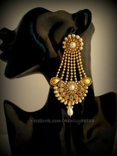 Mughal style goldplated long jhummar earrings-Pearl https://www.facebook.com/Abhivyaktaa/photos/pb.191017704268699.-2207520000.1405095343./703315813038883/?type=3&theater