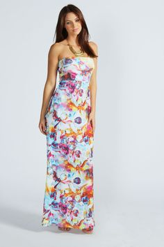 Lucy Floral Print Bandeau Maxi Dress.... This reminds me of a dress you borrowed for Cancun, but better I think .....hippie-er, more Julie!