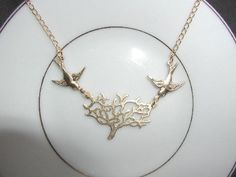Matte Gold Plated Tree of Life Necklace by luvswoodencars2 on Etsy, $16.00
