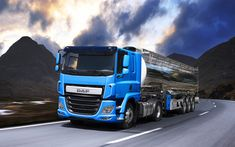 Download wallpapers DAF CF, 4k, 2018 truck, Euro 6, new CF, tanker, cargo transport, trucks, DAF