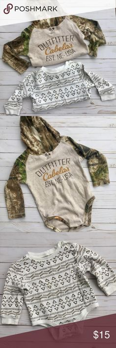 •Baby Boy Onesie Bundle• Super cute onesies for the baby on the go!! Both have snap bottoms. Brands are Joe Fresh & Cabela's ❤️❤️ One Pieces Bodysuits