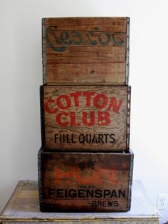 Vintage Cotton Club Seltzer Boxes. 12 x 12 x 17