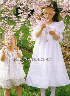 Two sweet flower girl dresses by Pegeen.  On the left, flower girl dress style 801 in a 2pc set, and on the right, Pegeen style 367