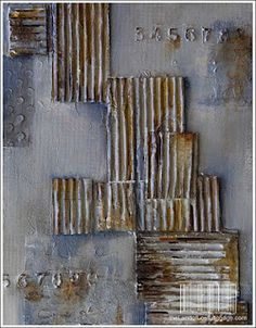 art created by Julie Pritchard. way cool how she has utilized what looks to be cardboard and stamped in the numbers.
