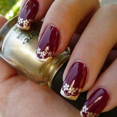 Burgundy Nail Design With Floral Print