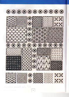 Blackwork Motifs Blackwork, Blackwork Cross Stitch, Blackwork Embroidery, Cross Stitching, Cross Stitch Embroidery, Embroidery Patterns, Cross Stitch Designs, Cross Stitch Patterns, Cross Stitch Silhouette
