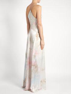 Tie-dye V-neck sleeveless silk-satin gown | Galvan | MATCHESFASHION.COM
