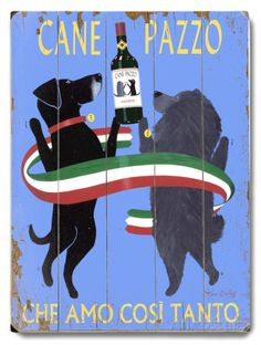 Cane Pazzo Wood Sign at AllPosters.com