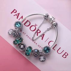 Authentic pandora charm bracelet in deluxe blue with 8 pcs charms murano  glass f53e024d6ad
