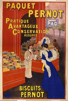 free printable, printable, advertising, classic posters, food, free download, graphic design, french poster, retro prints, vintage, vintage posters, Paquet Pernot - Biscuits Pernot: Pratique Avantageux Conservation Assuree - Vintage French Advertising Poster