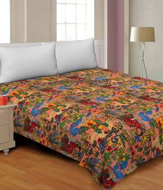 Frida Kahlo Printed Cotton Quilted Blanket Indian Twin Handmade Bedspread Kantha Work Bohemian Bed Decor Throw Blanket 60X90 inch Kantha Quilt, Bohemian Quilt, Bohemian Bedding, Boho, Floral Bedspread, Indian Quilt, Indian Blankets, Quilted Throw Blanket, Quilts For Sale