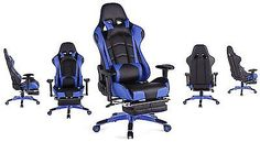 Top Gamer Ergonomic Gaming Chair High back Swivel Computer Office Chair with Footrest Adjusting Headrest and Lumbar Support Racing Chair (Blue/Black) Small Swivel Chair, Swivel Rocker Recliner Chair, Baby Bean Bag Chair, Eames Chair Replica, Office Gaming Chair, Top Computer, Gaming Computer, Cane Back Chairs, Ergonomic Computer Chair