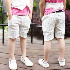 Дешевое Мальчика брюки летние брюки брюки брюки пять детские брюки, свободного покроя брюки 2015 новый решетки, Купить Качество Брюки и штаны непосредственно из китайских фирмах-поставщиках: