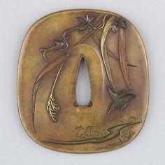 Tsuba / Plants and bird motif