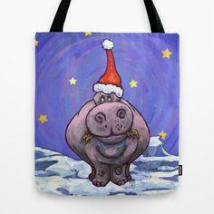 Hippopotamus Christmas Tote Bag by Imagine That! Design - $22.00