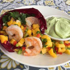was sautéed our shrimp in olive oil. The mango salsa includes mango ...