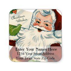 Santa's Christmas Wishes Vintage Address Label Square Sticker http://www.zazzle.com/santas_christmas_wishes_vintage_address_label_sticker-217812510653183712?rf=238959784119007538&tc=pinaprodbetsy #christmas return address #xmas return address #vintage #return address #christmas #xmas #santa #santa claus #victorian #square sticker