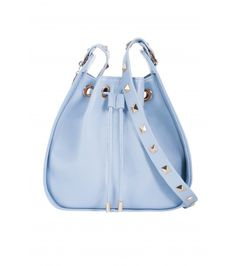 The Ziggy Studded Drawstring Bag - Baby Blue