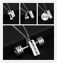 Men's Fitness Strength Weight Plate Dumbbell Kettle bell Strong is Beautiful Necklace Fashion Weightlifting Sports Jewelry