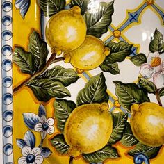 The most gorgeous platter is getting added to our website today! Mediterranean Tile, Lemon Art, Collage Background, Napkin Decoupage, Italian Pottery, Fruit Art, Pottery Painting, Ceramic Pottery, Decoration