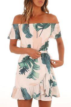 New Gemijack Womens Hawaiian Dresses Off The Shoulder Floral Short Sleeve Strapless Summer Beach Dress online shopping - Pptoplike Beach Dresses, Trendy Dresses, Women's Fashion Dresses, Casual Dresses, Summer Dresses, Hawaiian Dresses, Dresses Dresses, Floral Dresses, Summer Clothes