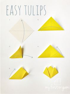 Easy Tulips How to get children folding EASY ORIGAMI TULIPS. A great starting origami with only a few steps. easy step by step Diy Origami, Tulip Origami, Easy Origami Flower, Origami Flowers Tutorial, Cute Origami, Origami Butterfly, Paper Crafts Origami, Origami Instructions, Origami Stars