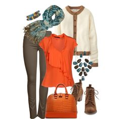"""""""pop+of+orange+for+Tuesday""""+by+touchofretro+on+Polyvore"""