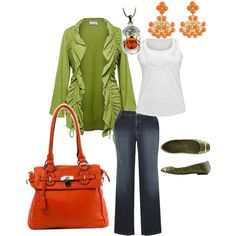 Green & Orange? Outfit, created by alison-harrell on Polyvore