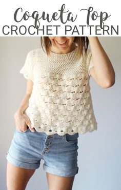 Crochet Yoke, Crochet Shirt, Love Crochet, Crochet Patterns, Knit Vest Pattern, Crochet Baby Sandals, Crochet Summer Tops, Summer Sweaters, Modern Crochet