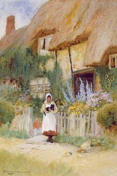 By the Cottage Gate ~ Ernest Walbourn ~ (English: 1872-1927)