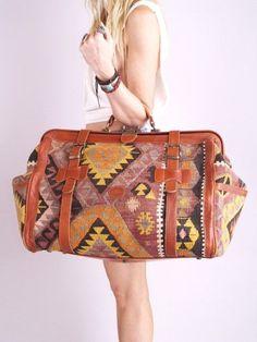 efefc351fc06 Vtg 70s SOUTHWEST NAVAJO Kilim Leather Weekender BAG
