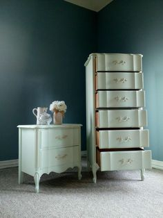 French Provincial Vintage Mint Chest of Drawers & Nightstand  Https://www.5miles.com/s/handmade_dallas