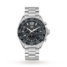 The TAG Heuer Formula 1 Quartz Chronograph Steel & Ceramic watch. TAG Heuer's in-depth knowledge of motor sport incorporated into a casual sports watch. Gents Watches, Watches For Men, Tag Watches, Mens Sport Watches, Nice Watches, Wrist Watches, Datejust Rolex, Tag Heuer Formula, Swiss Army Watches