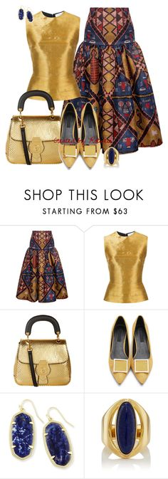 """Gold"" by rotwein ❤ liked on Polyvore featuring Stella Jean, Oscar de la Renta, Burberry, Kendra Scott and Pamela Love"