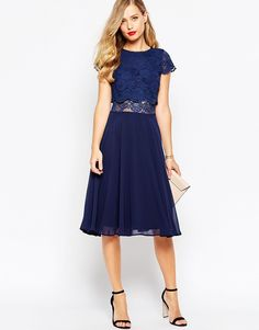 Image 4 ofASOS Crop Top Lace Midi Dress