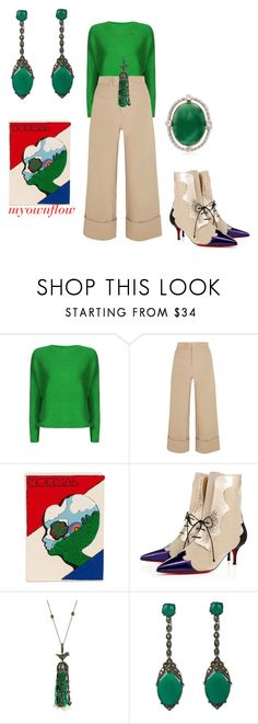 """""""BEING PETTY"""" by myownflow ❤ liked on Polyvore featuring Sea, New York, Olympia Le-Tan, Christian Louboutin and Ross-Simons"""