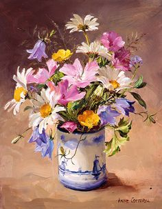 Mallows and Dog Daisies card by Anne Cotterill